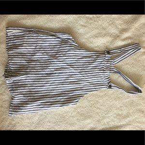 Forever 21 striped short overalls